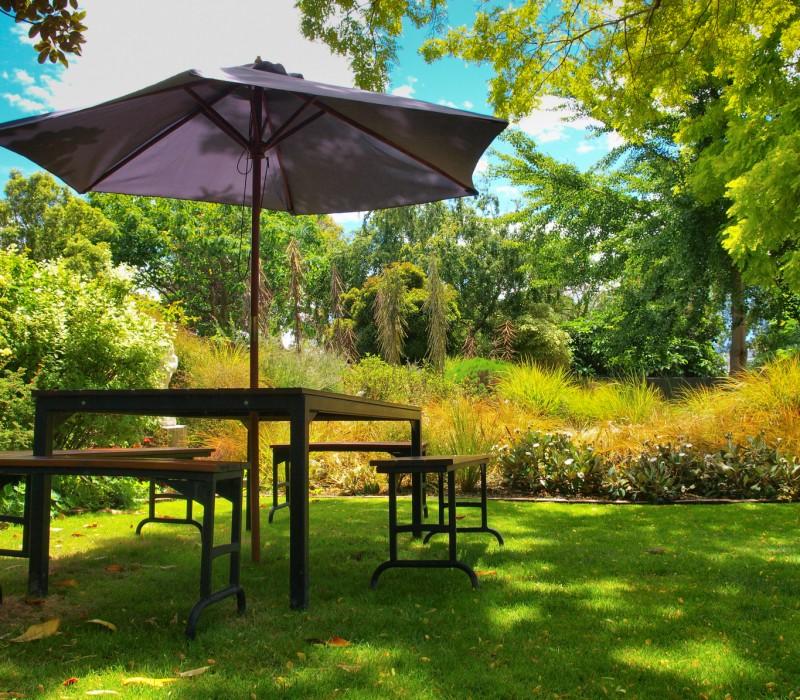garden furniture in the shadow